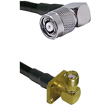 TNC Reverse Polarity Right Angle Male on Belden 83242 RG142 to SMA 4 Hole Right Angle Female Coaxial