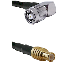 TNC Reverse Polarity Right Angle Male on LMR100 to MCX Male Cable Assembly