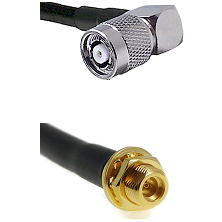 TNC Reverse Polarity Right Angle Male on LMR100 to MMCX Female Bulkhead Cable Assembly
