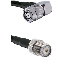 TNC Reverse Polarity Right Angle Male on LMR100 to Mini-UHF Female Cable Assembly