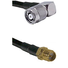 TNC Reverse Polarity Right Angle Male on LMR-195-UF UltraFlex to SMA Reverse Polarity Female Coaxial