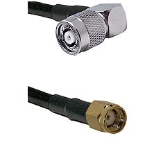 TNC Reverse Polarity Right Angle Male on LMR-195-UF UltraFlex to SMA Reverse Polarity Male Coaxial C