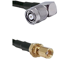 TNC Reverse Polarity Right Angle Male on LMR195 to SSMC Female Bulkhead Cable Assembly