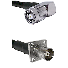 TNC Reverse Polarity Right Angle Male on LMR200 UltraFlex to C 4 Hole Female Cable Assembly