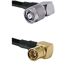 TNC Reverse Polarity Right Angle Male on LMR200 UltraFlex to SMB Right Angle Female Coaxial Cable As
