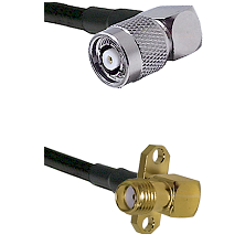 TNC Reverse Polarity Right Angle Male on LMR240 Ultra Flex to SMA 2 Hole Right Angle Female Coaxial