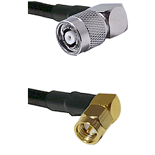 TNC Reverse Polarity Right Angle Male on LMR240 Ultra Flex to SMA Right Angle Male Coaxial Cable Ass