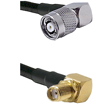 TNC Reverse Polarity Right Angle Male Connector On LMR-240UF UltraFlex To SMA Reverse Thread Right A