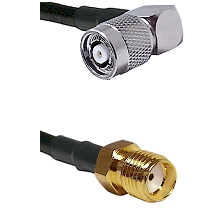TNC Reverse Polarity Right Angle Male Connector On LMR-240UF UltraFlex To SMA Reverse Thread Female