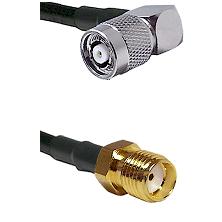 TNC Reverse Polarity Right Angle Male Connector On LMR-240UF UltraFlex To SMA Reverse Thread Female