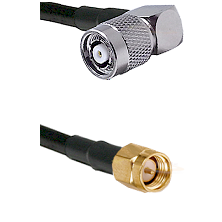 TNC Reverse Polarity Right Angle Male on LMR240 Ultra Flex to SMA Reverse Thread Male Coaxial Cable