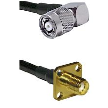 TNC Reverse Polarity Right Angle Male Connector On LMR-240UF UltraFlex To SMA 4 Hole Female Connecto