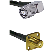 TNC Reverse Polarity Right Angle Male on LMR240 Ultra Flex to SMA 4 Hole Female Coaxial Cable Assemb