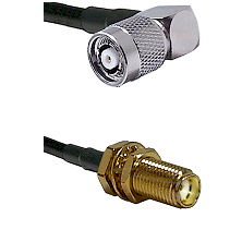 TNC Reverse Polarity Right Angle Male on LMR240 Ultra Flex to SMA Female Bulkhead Coaxial Cable Asse