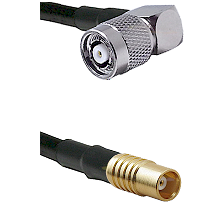 TNC Reverse Polarity Right Angle Male on RG142 to MCX Female Cable Assembly