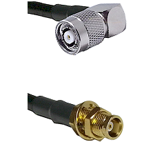 TNC Reverse Polarity Right Angle Male on RG142 to MCX Female Bulkhead Cable Assembly