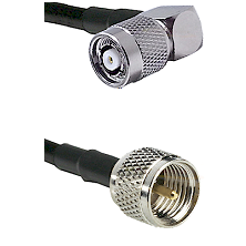 TNC Reverse Polarity Right Angle Male on RG142 to Mini-UHF Male Cable Assembly