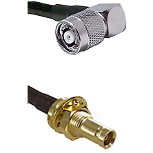 TNC Reverse Polarity Right Angle Male on RG400 to 10/23 Female Bulkhead Cable Assembly