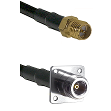 SMA Reverse Polarity Female on LMR100 to N 4 Hole Female Cable Assembly