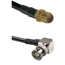 SMA Reverse Polarity Female on LMR100 to BNC Reverse Polarity Right Angle Male Coaxial Cable Assembl