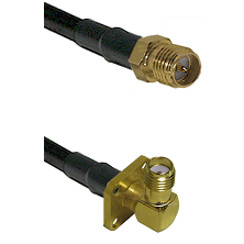 SMA Reverse Polarity Female on LMR240 Ultra Flex to SMA 4 Hole Right Angle Female Coaxial Cable Asse