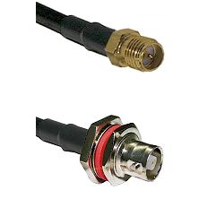 SMA Reverse Polarity Female on RG142 to C Female Bulkhead Cable Assembly