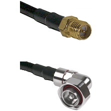 SMA Reverse Polarity Female on RG142 to 7/16 Din Right Angle Male Cable Assembly