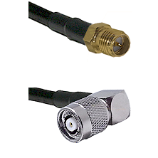 SMA Reverse Polarity Female on RG142 to TNC Reverse Polarity Right Angle Male Cable Assembly