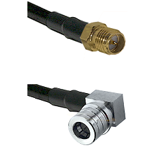 SMA Reverse Polarity Female on RG142 to QMA Right Angle Male Cable Assembly