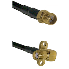 SMA Reverse Polarity Female on RG142 to SMA 2 Hole Right Angle Female Cable Assembly