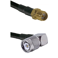 SMA Reverse Polarity Female on RG142 to TNC Right Angle Male Cable Assembly