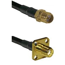 SMA Reverse Polarity Female on RG142 to SMA 4 Hole Female Cable Assembly