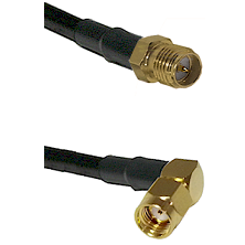 SMA Reverse Polarity Female on RG58C/U to SMA Reverse Polarity Right Angle Male Coaxial Cable Assemb
