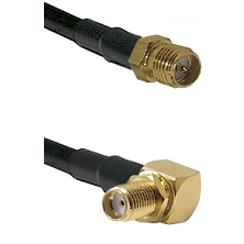 SMA Reverse Polarity Female on RG58C/U to SMA Right Angle Female Bulkhead Cable Assembly