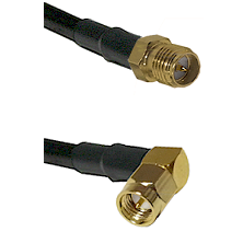 SMA Reverse Polarity Female on RG58C/U to SMA Right Angle Male Cable Assembly