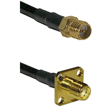 SMA Reverse Polarity Female on RG58 to SMA 4 Hole Female Cable Assembly