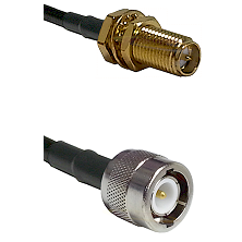 SMA Reverse Polarity Female Bulkhead on LMR100 to C Male Cable Assembly