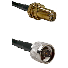 SMA Reverse Polarity Female Bulkhead on LMR100 to N Male Cable Assembly