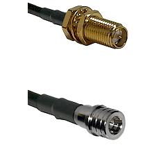 SMA Reverse Polarity Female Bulkhead on LMR100 to QMA Male Cable Assembly