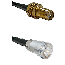 SMA Reverse Polarity Female Bulkhead on LMR-195-UF UltraFlex to 7/16 Din Female Coaxial Cable Assemb