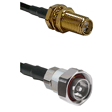 SMA Reverse Polarity Female Bulkhead on LMR-195-UF UltraFlex to 7/16 Din Male Cable Assembly