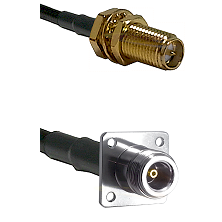 SMA Reverse Polarity Female Bulkhead on LMR200 UltraFlex to N 4 Hole Female Cable Assembly