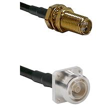 SMA Reverse Polarity Female Bulkhead Connector On LMR-240UF UltraFlex To 7/16 4 Hole Female Connecto