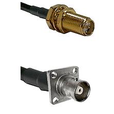 SMA Reverse Polarity Female Bulkhead Connector On LMR-240UF UltraFlex To C 4 Hole Female Connector C