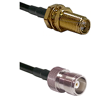 SMA Reverse Polarity Female Bulkhead Connector On LMR-240UF UltraFlex To HN Female Connector Coaxial
