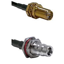 SMA Reverse Polarity Female Bulkhead Connector On LMR-240UF UltraFlex To QN Female Bulkhead Connecto