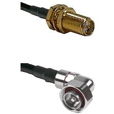 SMA Reverse Polarity Female Bulkhead on LMR240 Ultra Flex to 7/16 Din Right Angle Male Coaxial Cable