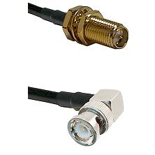 SMA Reverse Polarity Female Bulkhead on LMR240 Ultra Flex to BNC Right Angle Male Coaxial Cable Asse