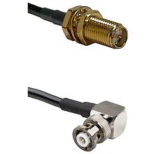 SMA Reverse Polarity Female Bulkhead Connector On LMR-240UF UltraFlex To MHV Right Angle Male Connec