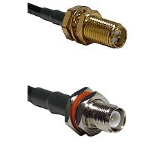 SMA Reverse Polarity Female Bulkhead Connector On LMR-240UF UltraFlex To TNC Reverse Polarity Female